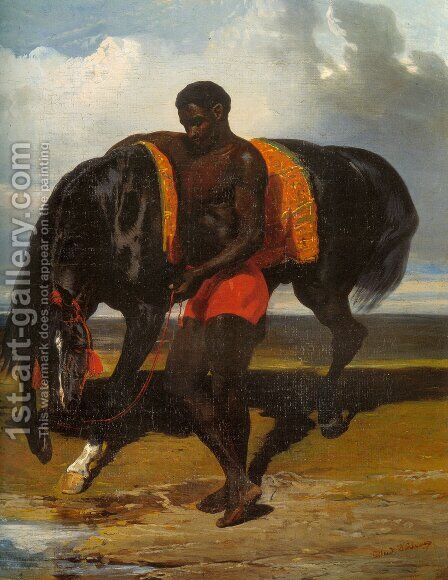 Africain tenant un cheval au bord d'une mer (African keeping a horse at the side of a sea) by Alfred Dedreux - Reproduction Oil Painting