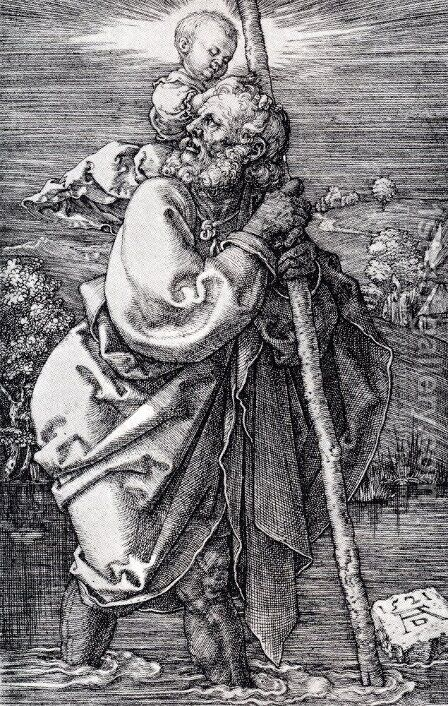 St. Christopher Facing To The Left by Albrecht Durer - Reproduction Oil Painting