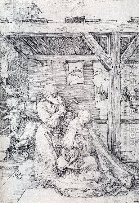 The Nativity: Adoration Of The Christ Child In The Stables with The Virgin And St. Joseph by Albrecht Durer - Reproduction Oil Painting