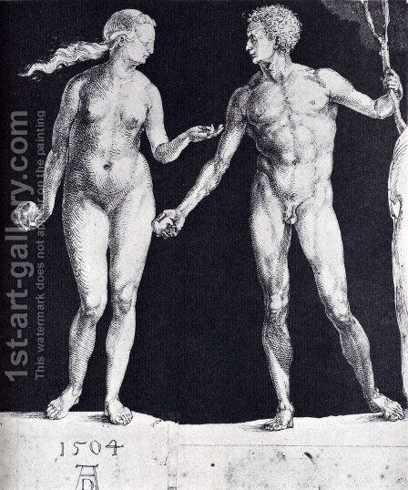Idealistic Male And Female Figures (or Adam And Eve) by Albrecht Durer - Reproduction Oil Painting