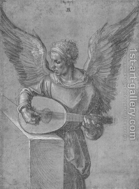 Winged Man, In Idealistic Clothing, Playing a Lute by Albrecht Durer - Reproduction Oil Painting