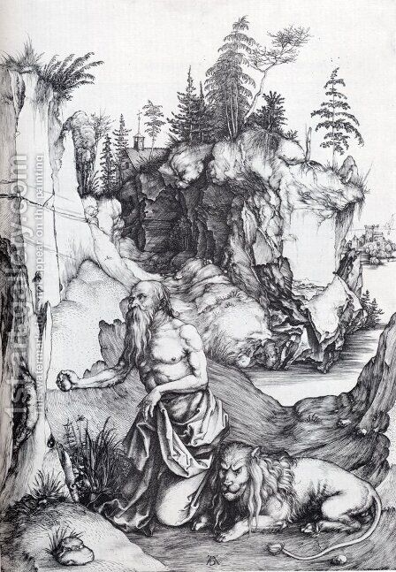 St. Jerome Penitent In The Wilderness by Albrecht Durer - Reproduction Oil Painting