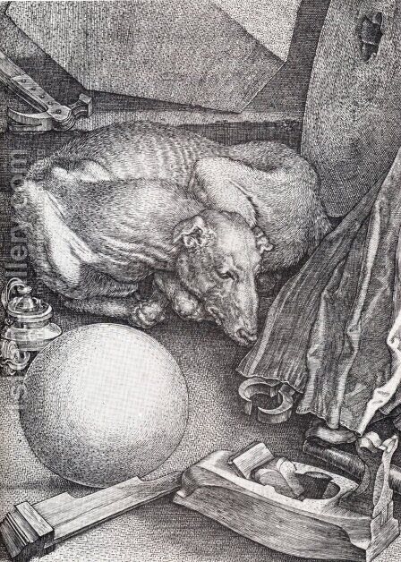 Melencolia I (detail) by Albrecht Durer - Reproduction Oil Painting