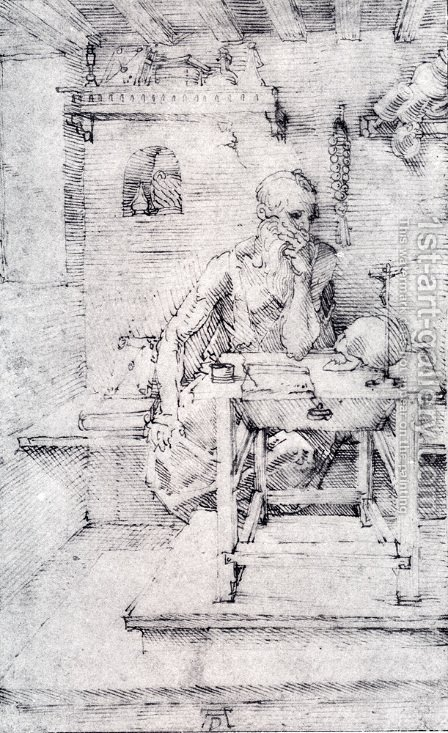 St. Jerome In His Study (Without Cardinal's Robes) (or Contemplating A Skull) by Albrecht Durer - Reproduction Oil Painting