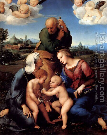 The Holy Family with Saints Elizabeth and John (or The Canigiani Holy Family) by Raphael - Reproduction Oil Painting