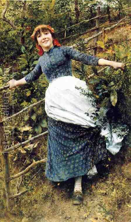 A Summer's Folly by Daniel Ridgway Knight - Reproduction Oil Painting