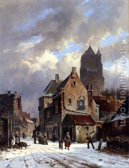 Figures In A Snowy Village Street by Adrianus Eversen - Reproduction Oil Painting
