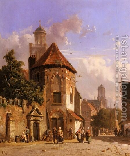 View Of A Dutch Street by Adrianus Eversen - Reproduction Oil Painting