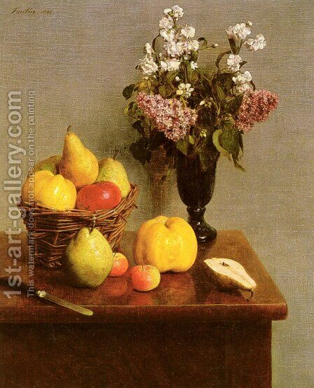 Still Life With Flowers And Fruit by Ignace Henri Jean Fantin-Latour - Reproduction Oil Painting