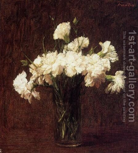 White Carnations by Ignace Henri Jean Fantin-Latour - Reproduction Oil Painting