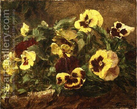 Pansies by Ignace Henri Jean Fantin-Latour - Reproduction Oil Painting