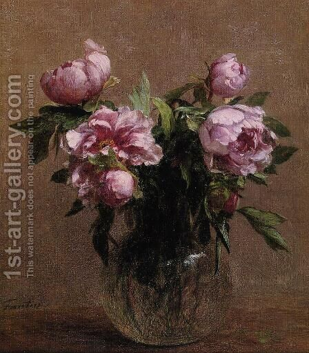 Vase of Peonies by Ignace Henri Jean Fantin-Latour - Reproduction Oil Painting