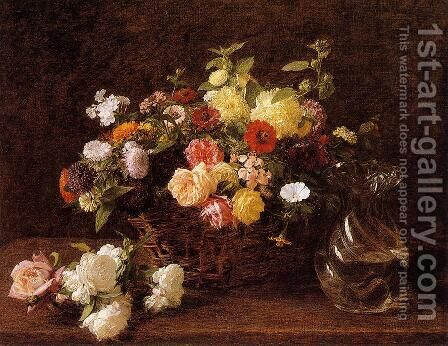 Basket of Flowers by Ignace Henri Jean Fantin-Latour - Reproduction Oil Painting