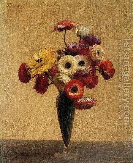 Anemones and Buttercups by Ignace Henri Jean Fantin-Latour - Reproduction Oil Painting