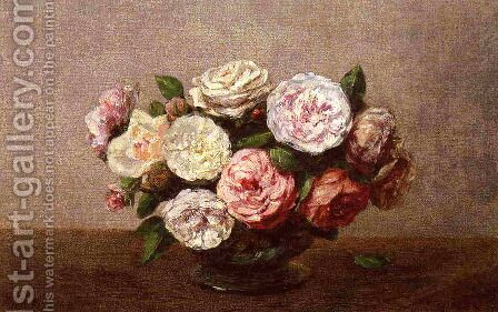 Bowl of Roses by Ignace Henri Jean Fantin-Latour - Reproduction Oil Painting