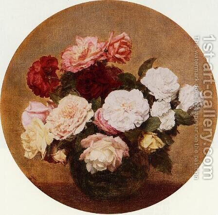 A Large Bouquet of Roses by Ignace Henri Jean Fantin-Latour - Reproduction Oil Painting
