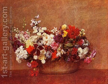 Flowers in a Bowl by Ignace Henri Jean Fantin-Latour - Reproduction Oil Painting
