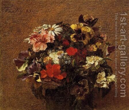 Bouquet of Flowers: Pansies by Ignace Henri Jean Fantin-Latour - Reproduction Oil Painting