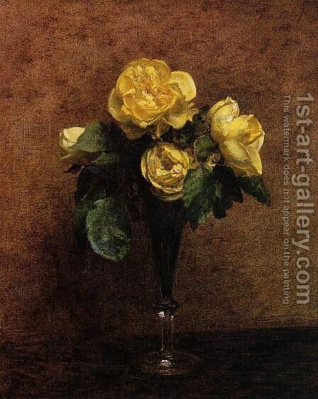 Fleurs: Roses Marechal Neil by Ignace Henri Jean Fantin-Latour - Reproduction Oil Painting