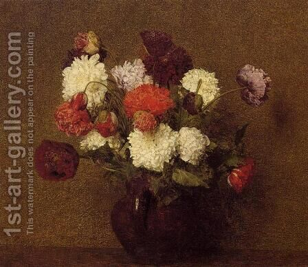 Flowers: Poppies by Ignace Henri Jean Fantin-Latour - Reproduction Oil Painting