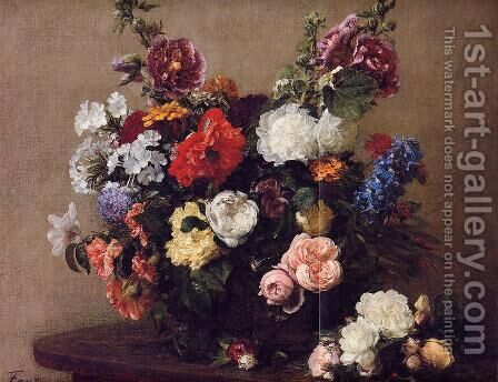 Bouquet of Diverse Flowers by Ignace Henri Jean Fantin-Latour - Reproduction Oil Painting