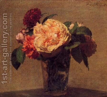 Flowers in a Vase by Ignace Henri Jean Fantin-Latour - Reproduction Oil Painting