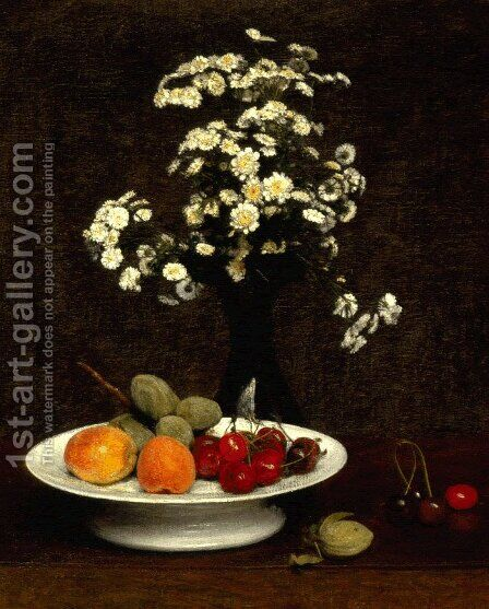 Still Life with Flowers by Ignace Henri Jean Fantin-Latour - Reproduction Oil Painting
