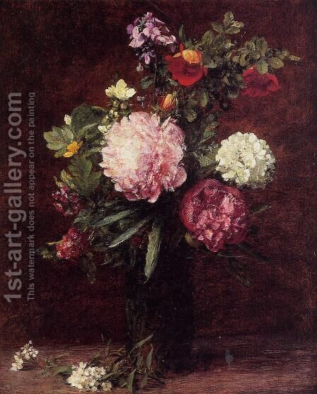 Flowers, Large Bouquet with Three Peonies by Ignace Henri Jean Fantin-Latour - Reproduction Oil Painting