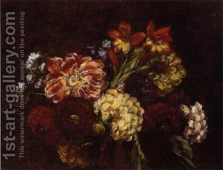 Flowers: Dahlias and Gladiolas by Ignace Henri Jean Fantin-Latour - Reproduction Oil Painting