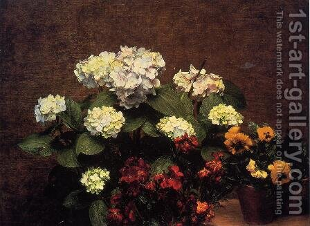 Hydrangias, Cloves and Two Pots of Pansies by Ignace Henri Jean Fantin-Latour - Reproduction Oil Painting