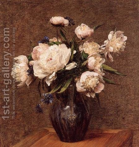 Bouquet of Peonies by Ignace Henri Jean Fantin-Latour - Reproduction Oil Painting