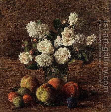 Still Life: Roses and Fruit by Ignace Henri Jean Fantin-Latour - Reproduction Oil Painting