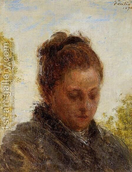 Head of a Young Woman by Ignace Henri Jean Fantin-Latour - Reproduction Oil Painting