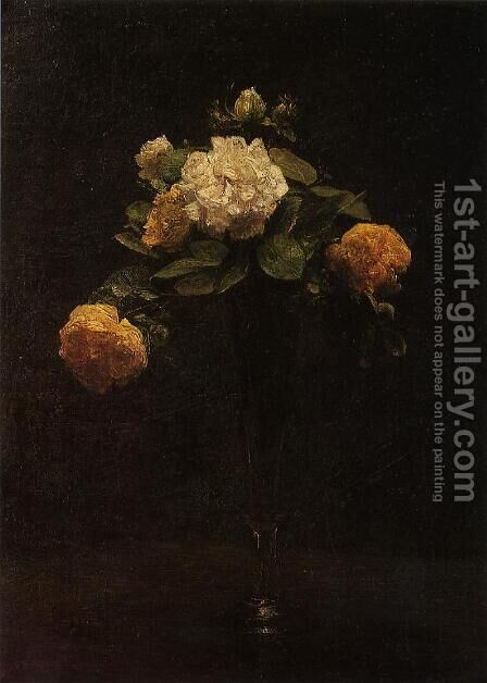 White and Yellow Roses in a Tall Vase by Ignace Henri Jean Fantin-Latour - Reproduction Oil Painting