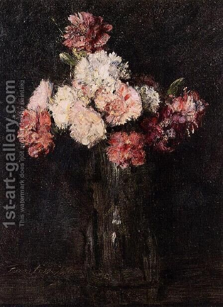 Carnations in a Champagne Glass by Ignace Henri Jean Fantin-Latour - Reproduction Oil Painting