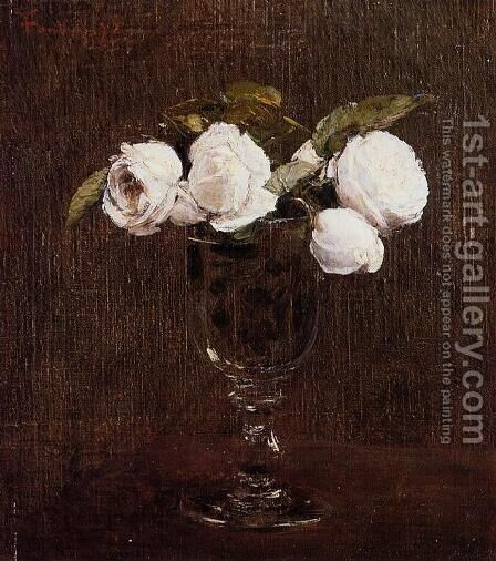 Vase of Roses by Ignace Henri Jean Fantin-Latour - Reproduction Oil Painting