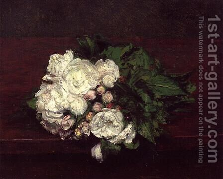 Flowers, White Roses by Ignace Henri Jean Fantin-Latour - Reproduction Oil Painting