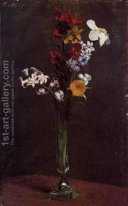 Narcisses, Hyacinths and Nasturtiums by Ignace Henri Jean Fantin-Latour - Reproduction Oil Painting