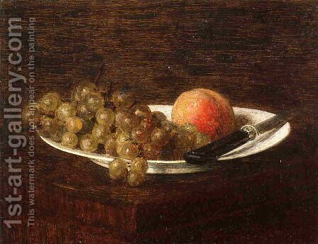 Still Life: Peach and Grapes by Ignace Henri Jean Fantin-Latour - Reproduction Oil Painting