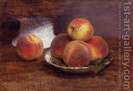 Bowl of Peaches by Ignace Henri Jean Fantin-Latour - Reproduction Oil Painting