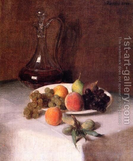 A Carafe of Wine and Plate of Fruit on a White Tablecloth by Ignace Henri Jean Fantin-Latour - Reproduction Oil Painting