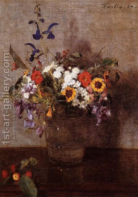 Diverse Flowers by Ignace Henri Jean Fantin-Latour - Reproduction Oil Painting