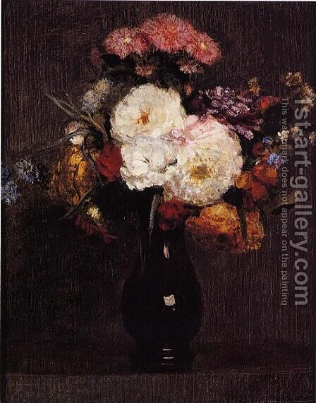 Dahlias, Queens Daisies, Roses and Cornflowers by Ignace Henri Jean Fantin-Latour - Reproduction Oil Painting