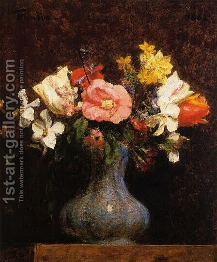 Flowers, Camelias and Tulips by Ignace Henri Jean Fantin-Latour - Reproduction Oil Painting