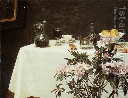 Still Life: Corner Of A Table by Ignace Henri Jean Fantin-Latour - Reproduction Oil Painting