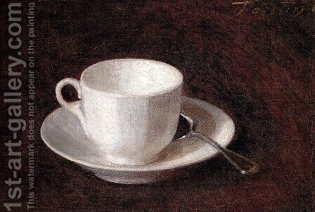 White Cup And Saucer by Ignace Henri Jean Fantin-Latour - Reproduction Oil Painting