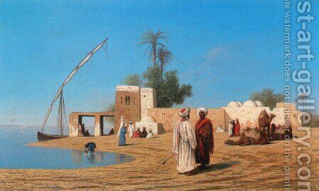 Un vilage aux bords de Nil - Haute Egypte (A Village on the Shores of the Nile - High Egypte) by Charles Théodore Frère - Reproduction Oil Painting