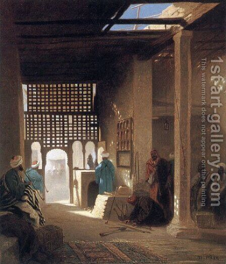 Interior of a Moorish Café by Charles Théodore Frère - Reproduction Oil Painting