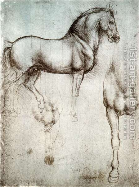 Study of horses by Leonardo Da Vinci - Reproduction Oil Painting