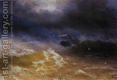 Storm on Sea by Ivan Konstantinovich Aivazovsky - Reproduction Oil Painting